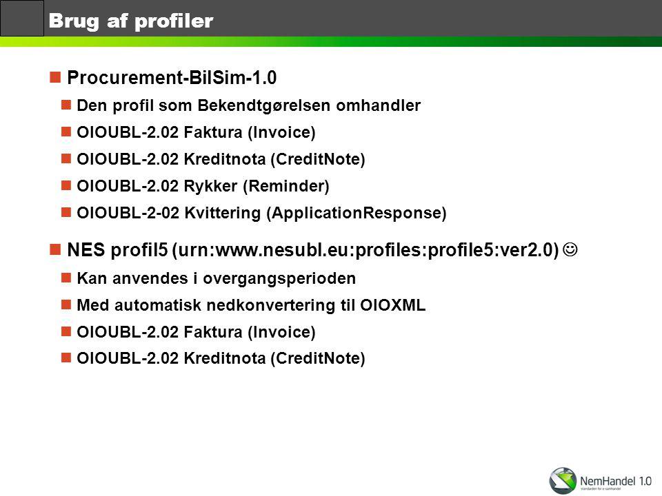 Brug af profiler Procurement-BilSim-1.0