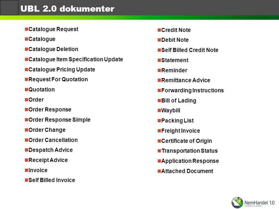 UBL 2.0 dokumenter Catalogue Request Credit Note Catalogue Debit Note