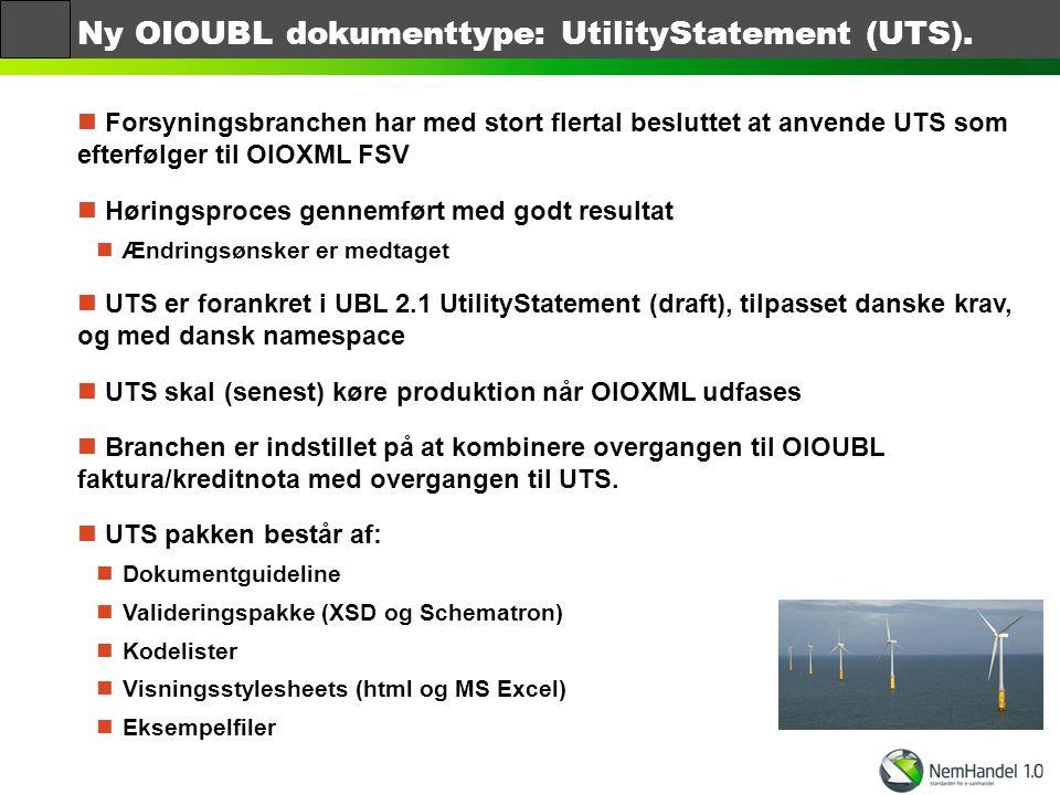 Ny OIOUBL dokumenttype: UtilityStatement (UTS).