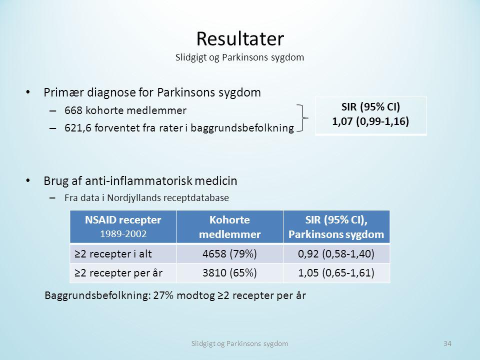 Resultater Slidgigt og Parkinsons sygdom