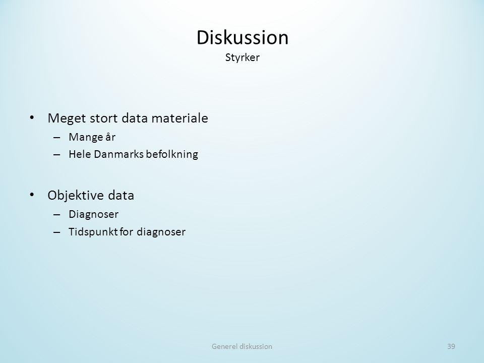Diskussion Styrker Meget stort data materiale Objektive data Mange år