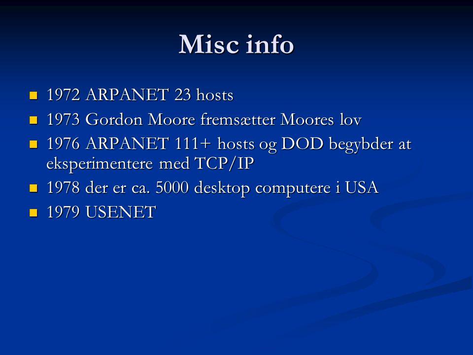 Misc info 1972 ARPANET 23 hosts