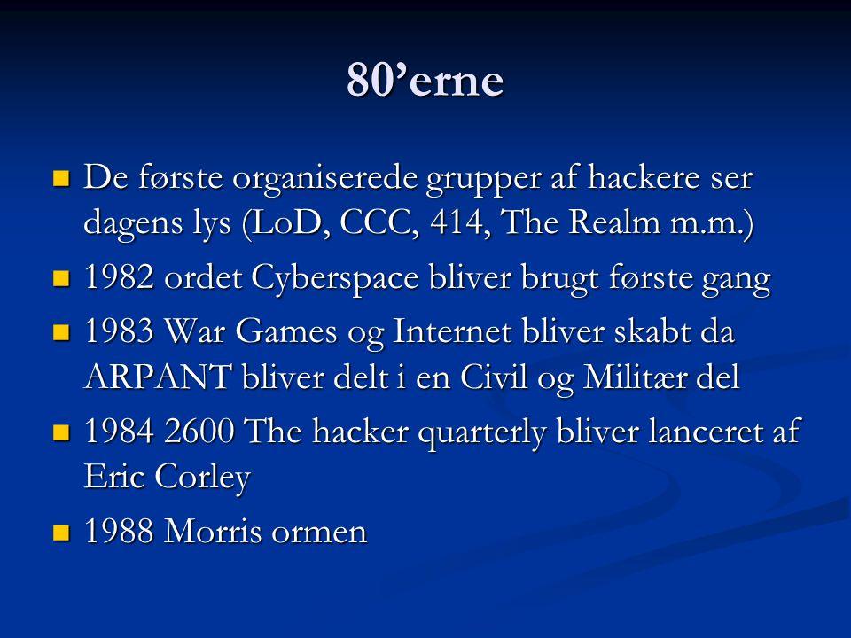 80'erne De første organiserede grupper af hackere ser dagens lys (LoD, CCC, 414, The Realm m.m.) 1982 ordet Cyberspace bliver brugt første gang.