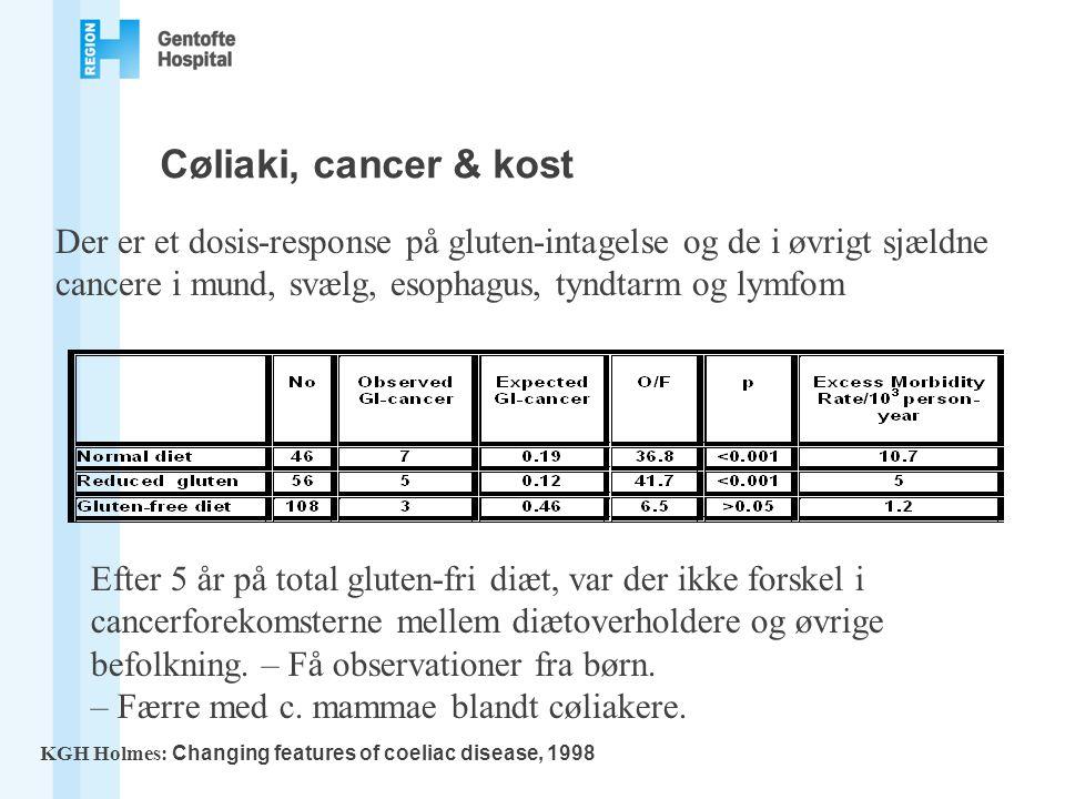 Cøliaki, cancer & kost Der er et dosis-response på gluten-intagelse og de i øvrigt sjældne cancere i mund, svælg, esophagus, tyndtarm og lymfom.