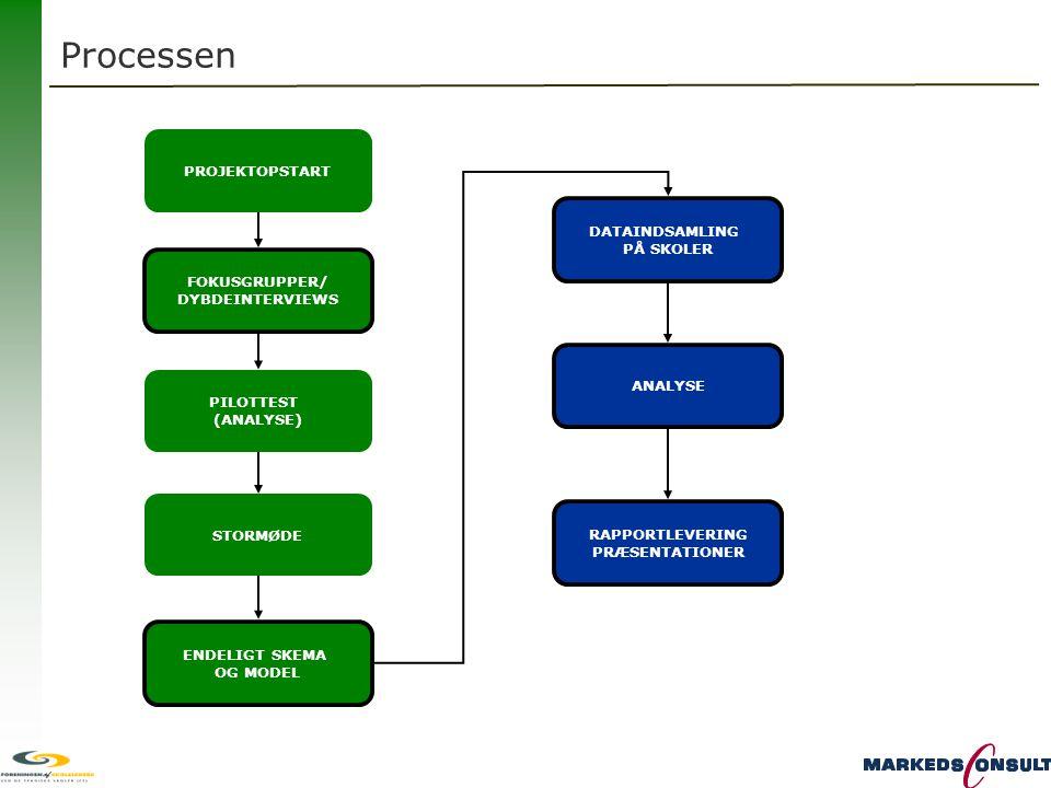 Processen PROJEKTOPSTART DATAINDSAMLING PÅ SKOLER FOKUSGRUPPER/