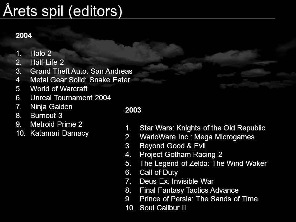 Årets spil (editors) 2004 Halo 2 Half-Life 2