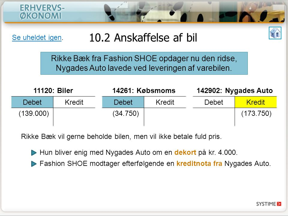 10.2 Anskaffelse af bil Se uheldet igen. Rikke Bæk fra Fashion SHOE opdager nu den ridse, Nygades Auto lavede ved leveringen af varebilen.