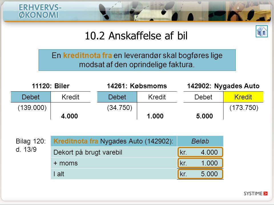 10.2 Anskaffelse af bil En kreditnota fra en leverandør skal bogføres lige modsat af den oprindelige faktura.