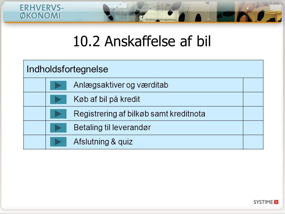 10.2 Anskaffelse af bil Indholdsfortegnelse Anlægsaktiver og værditab