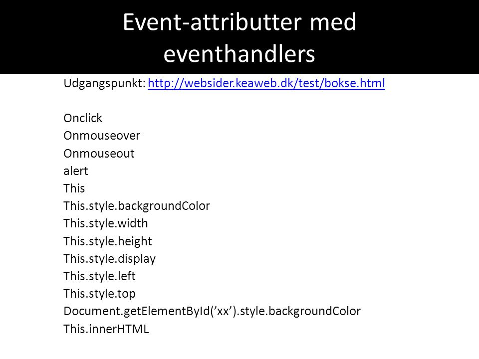 Event-attributter med eventhandlers