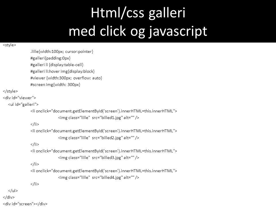 Html/css galleri med click og javascript