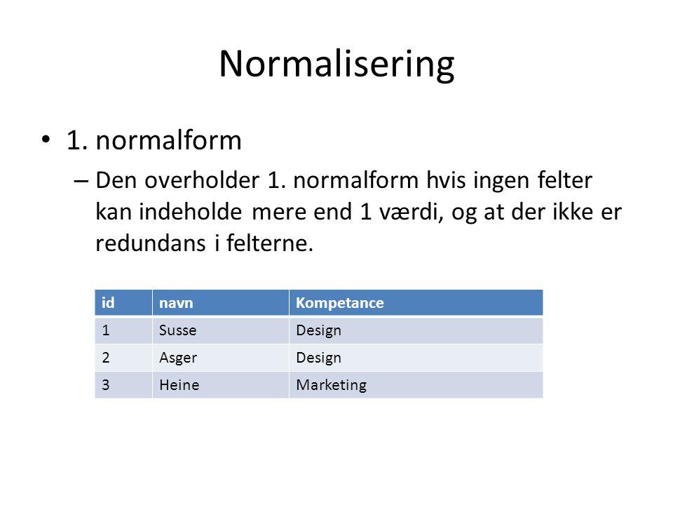 Normalisering 1. normalform
