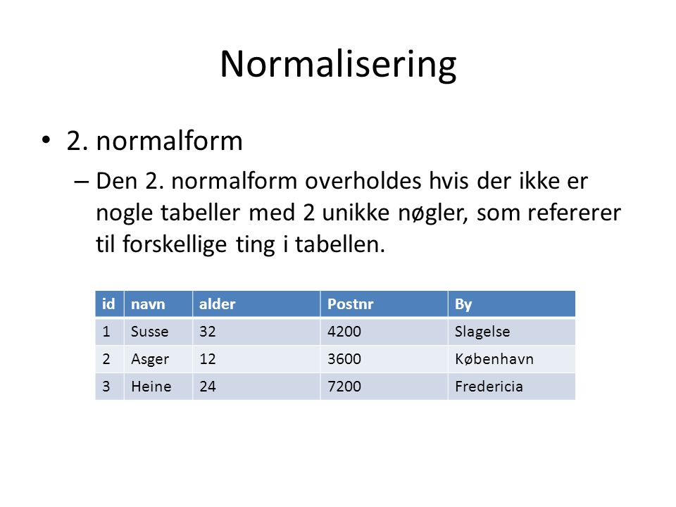Normalisering 2. normalform