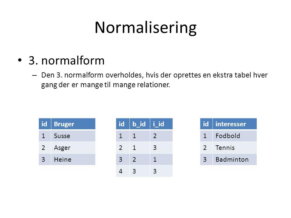 Normalisering 3. normalform