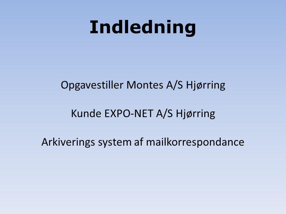 Indledning Opgavestiller Montes A/S Hjørring Kunde EXPO-NET A/S Hjørring Arkiverings system af mailkorrespondance