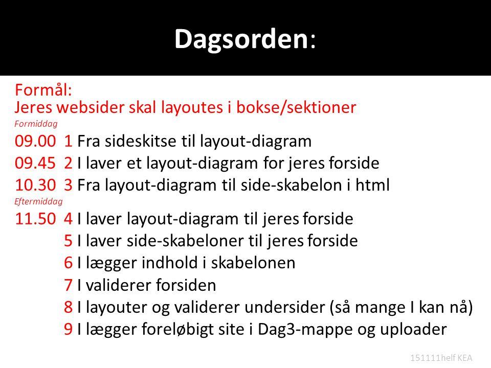 Dagsorden: Formål: Jeres websider skal layoutes i bokse/sektioner