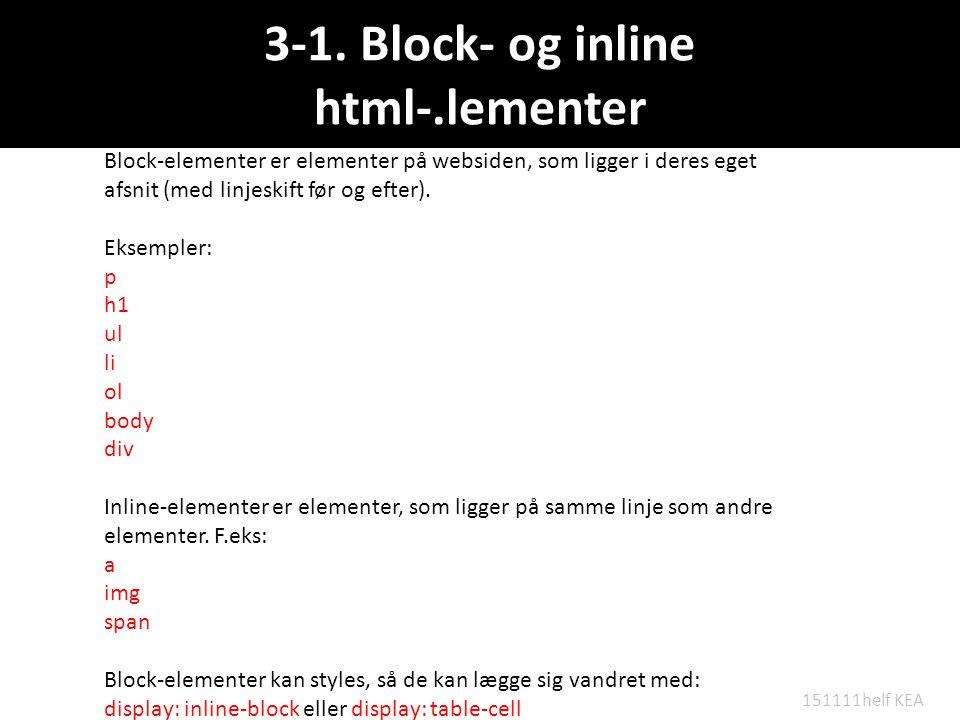 3-1. Block- og inline html-.lementer