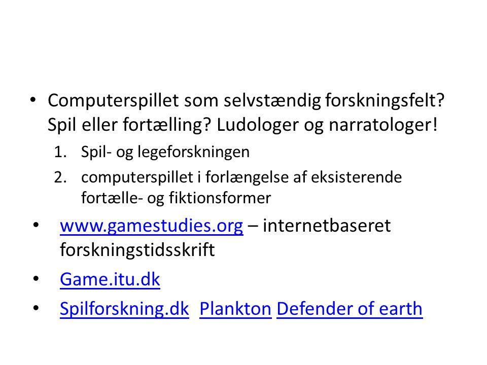 www.gamestudies.org – internetbaseret forskningstidsskrift Game.itu.dk