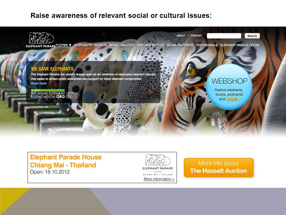 Raise awareness of relevant social or cultural issues:
