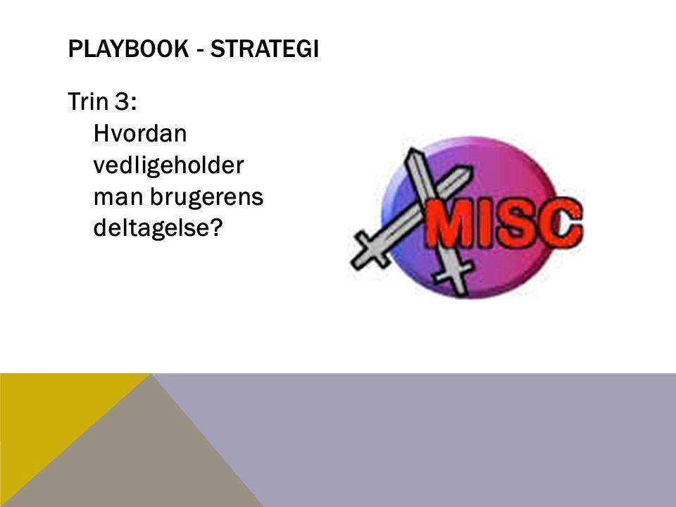 Playbook - strategi Trin 3: Hvordan vedligeholder man brugerens deltagelse