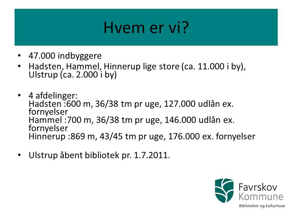 Hvem er vi 47.000 indbyggere. Hadsten, Hammel, Hinnerup lige store (ca. 11.000 i by), Ulstrup (ca. 2.000 i by)