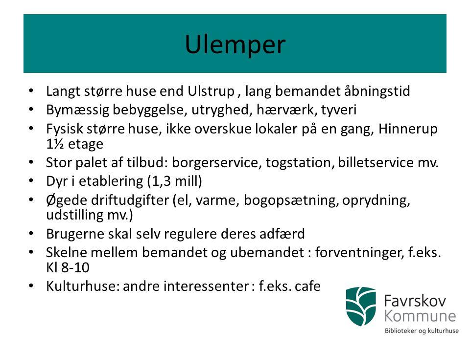 Ulemper Langt større huse end Ulstrup , lang bemandet åbningstid