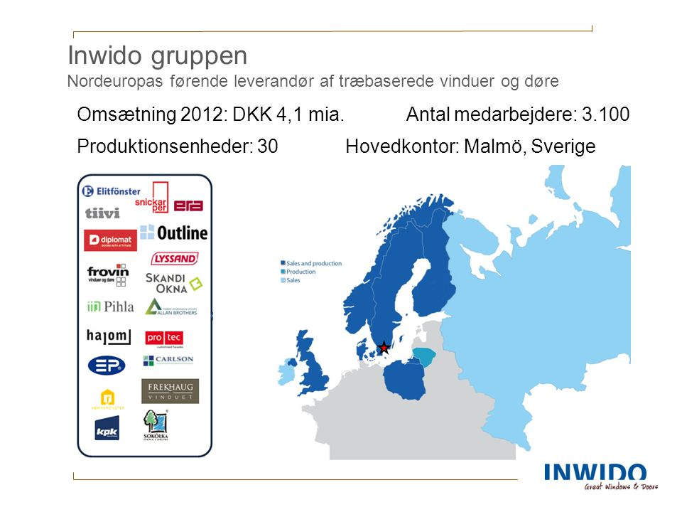 Inwido gruppen Nordeuropas førende leverandør af træbaserede vinduer og døre
