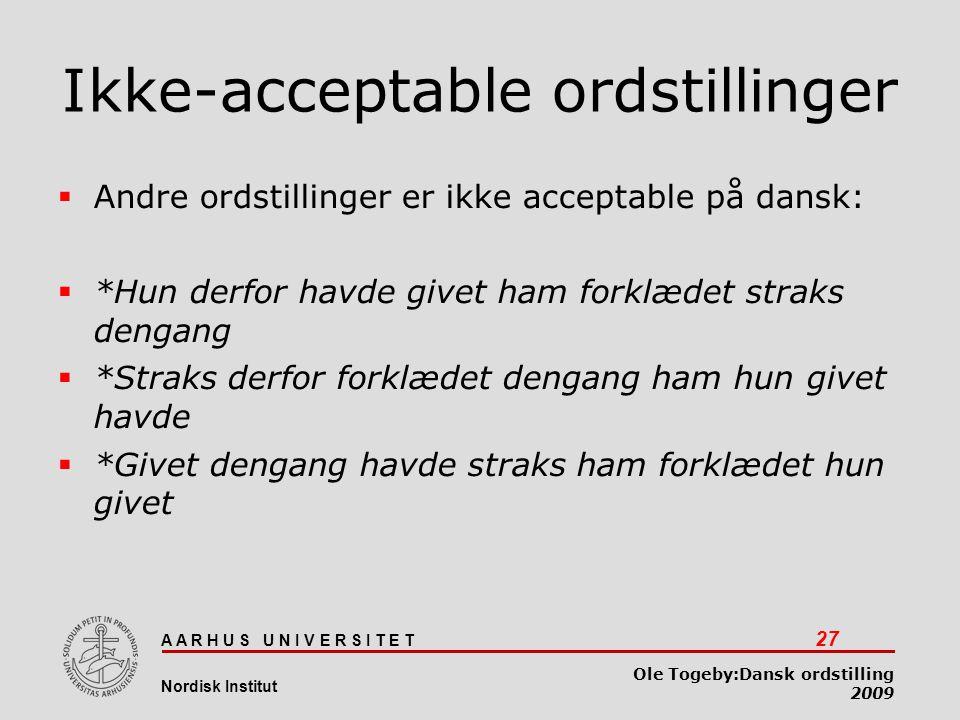 Ikke-acceptable ordstillinger