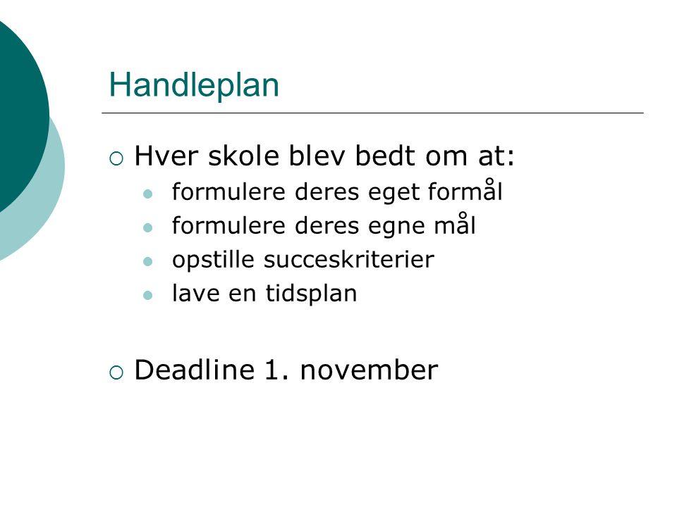 Handleplan Hver skole blev bedt om at: Deadline 1. november