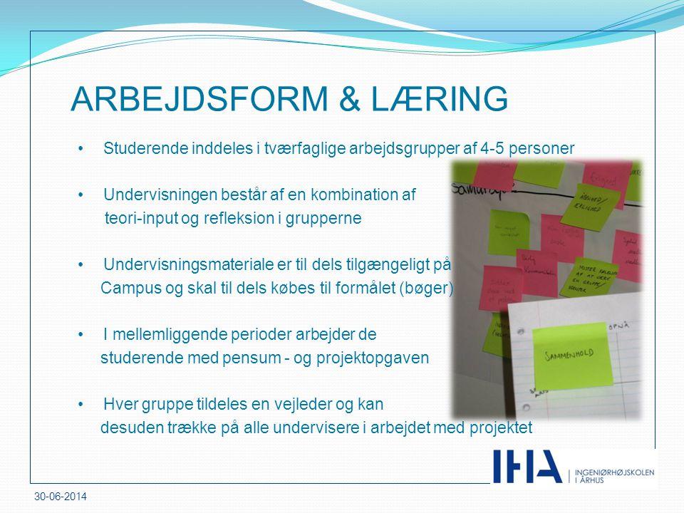 ARBEJDSFORM & LÆRING Studerende inddeles i tværfaglige arbejdsgrupper af 4-5 personer. Undervisningen består af en kombination af.