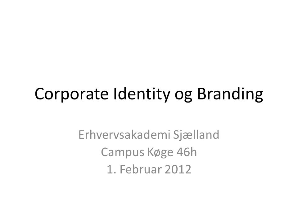 Corporate Identity og Branding