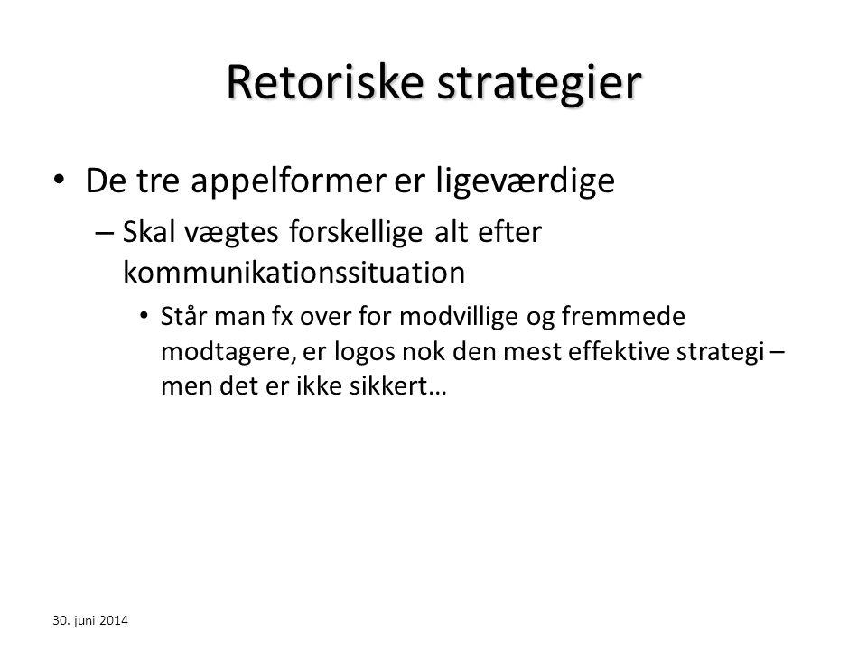 Retoriske strategier De tre appelformer er ligeværdige
