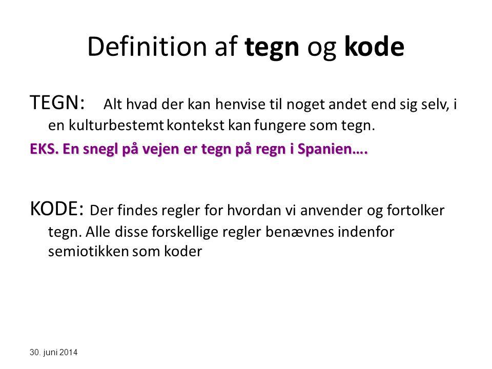 Definition af tegn og kode