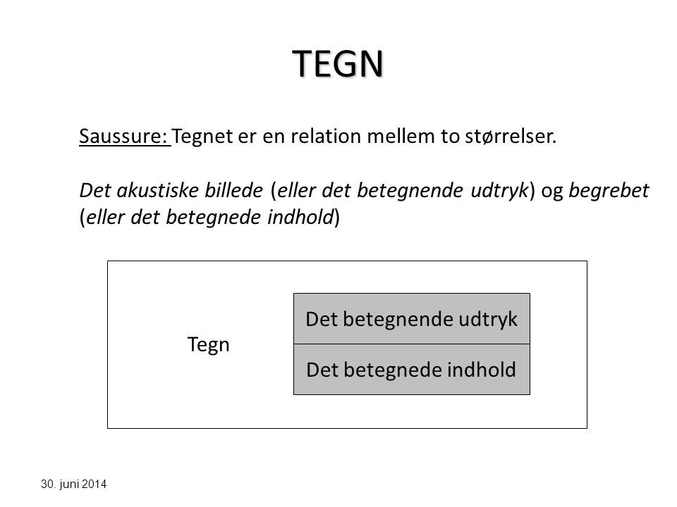 TEGN Saussure: Tegnet er en relation mellem to størrelser.