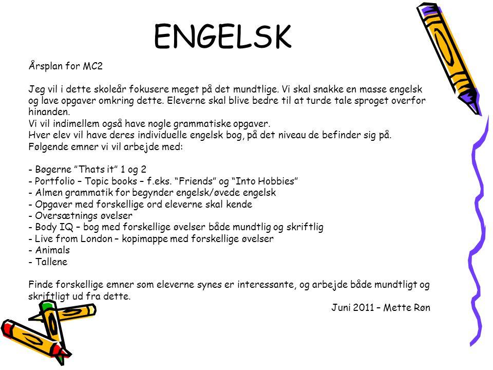 ENGELSK Årsplan for MC2.
