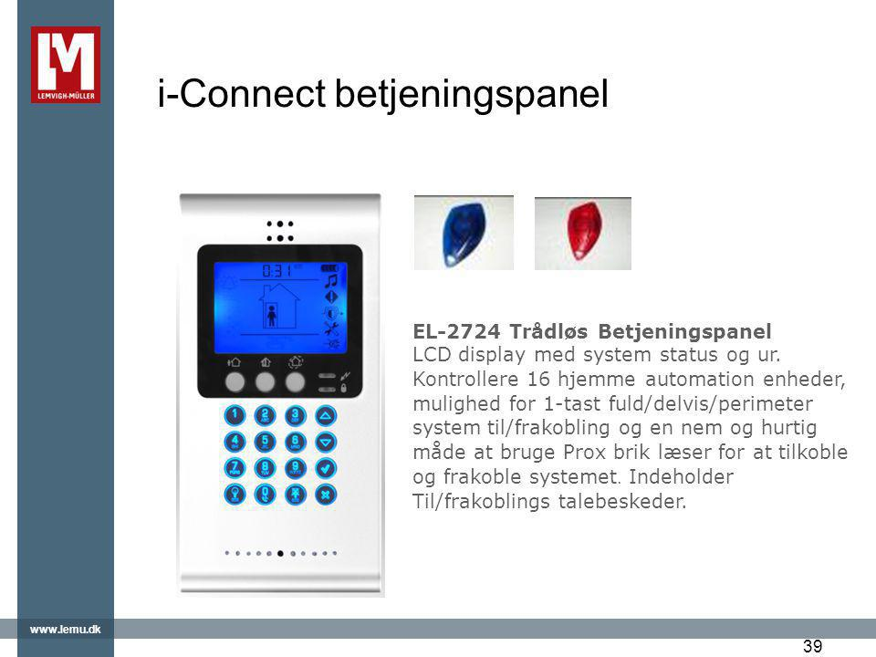 i-Connect betjeningspanel