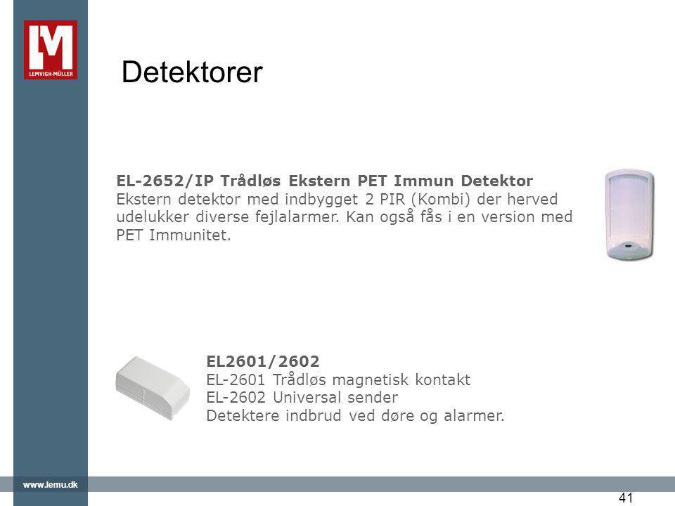 Detektorer EL-2652/IP Trådløs Ekstern PET Immun Detektor