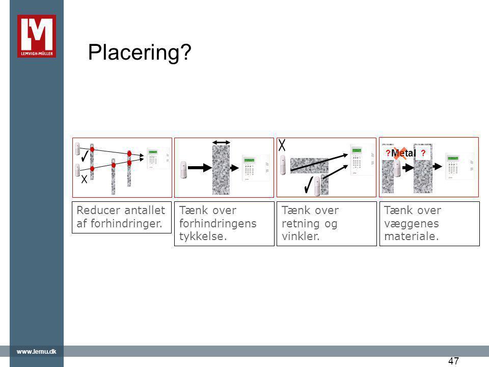 Placering Reducer antallet af forhindringer.