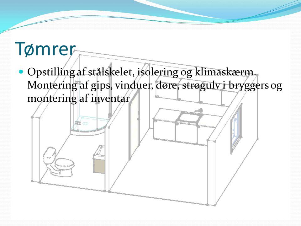 Tømrer Opstilling af stålskelet, isolering og klimaskærm.