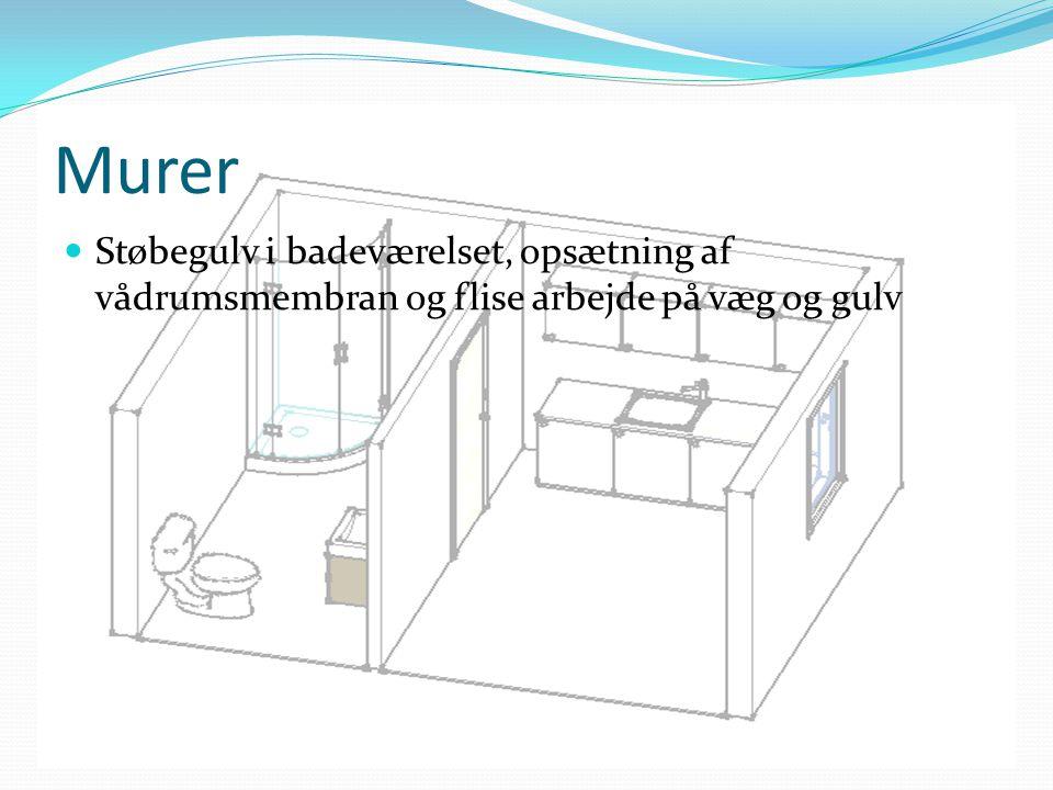 Murer Støbegulv i badeværelset, opsætning af vådrumsmembran og flise arbejde på væg og gulv