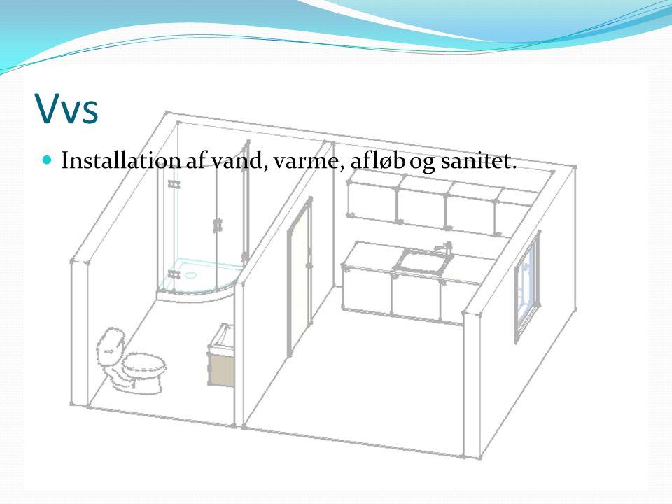 Vvs Installation af vand, varme, afløb og sanitet.