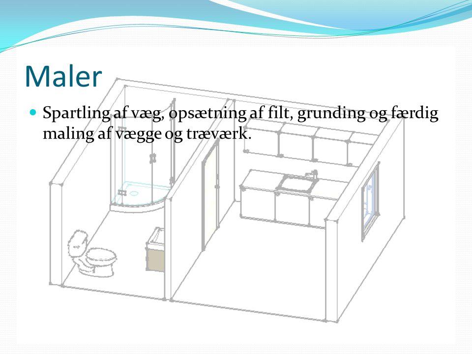 Maler Spartling af væg, opsætning af filt, grunding og færdig maling af vægge og træværk.