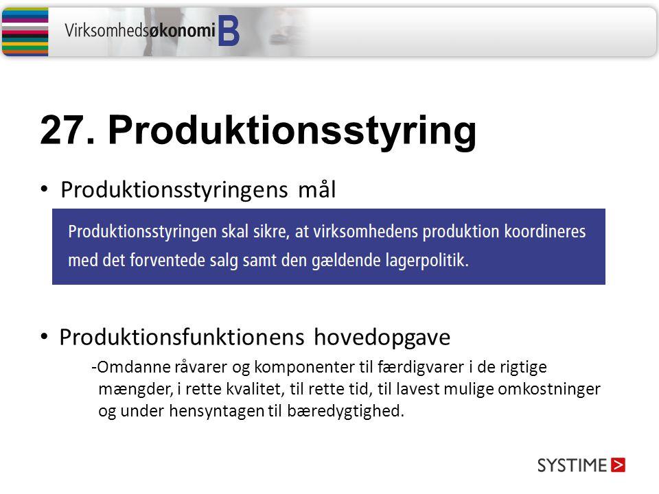 27. Produktionsstyring Produktionsstyringens mål