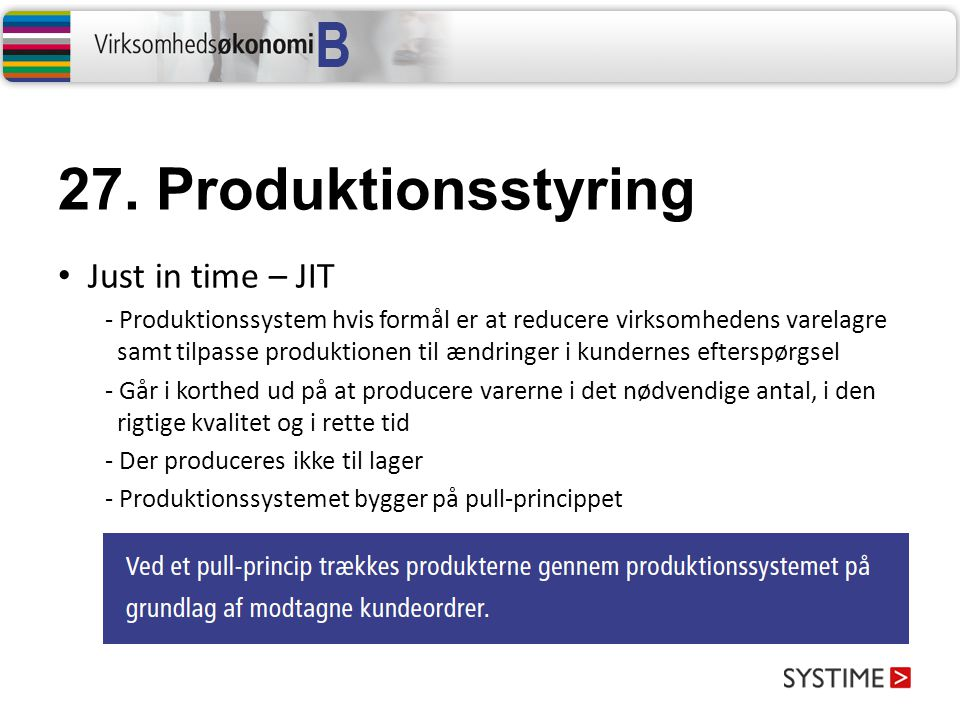 27. Produktionsstyring Just in time – JIT