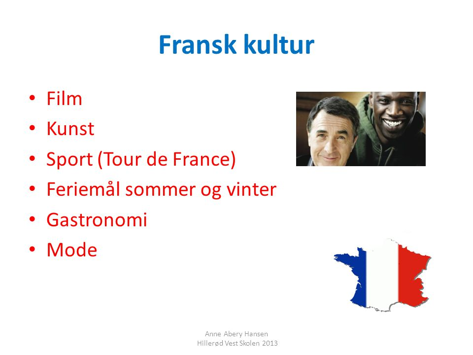 Fransk kultur Film Kunst Sport (Tour de France)