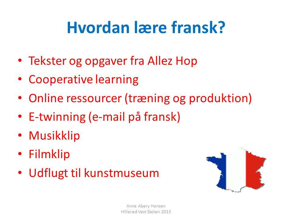 Hvordan lære fransk Tekster og opgaver fra Allez Hop