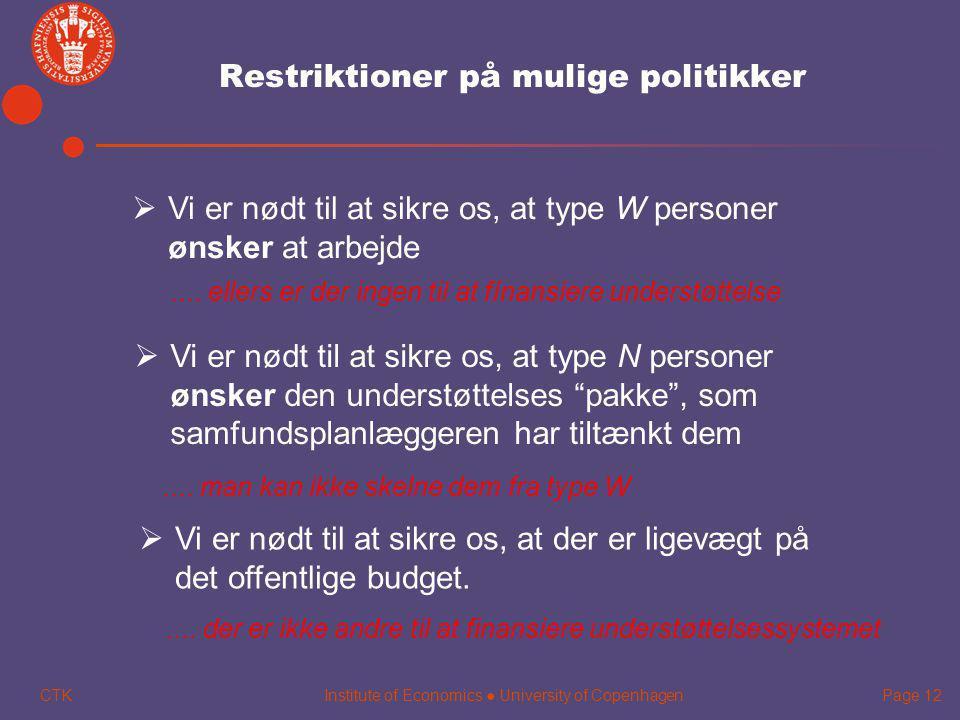 Restriktioner på mulige politikker