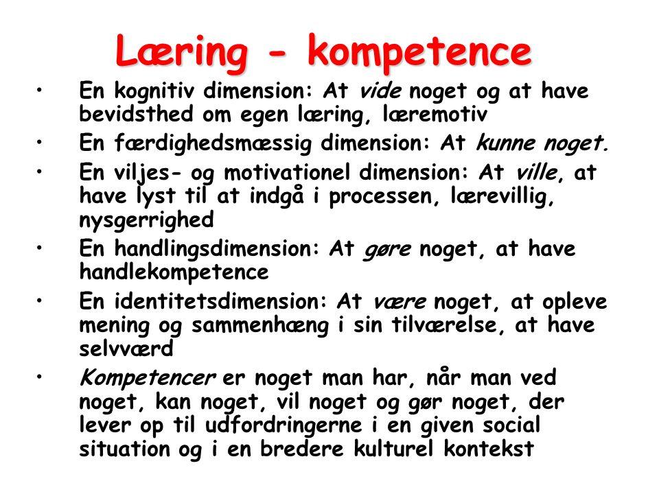 Læring - kompetence En kognitiv dimension: At vide noget og at have bevidsthed om egen læring, læremotiv.