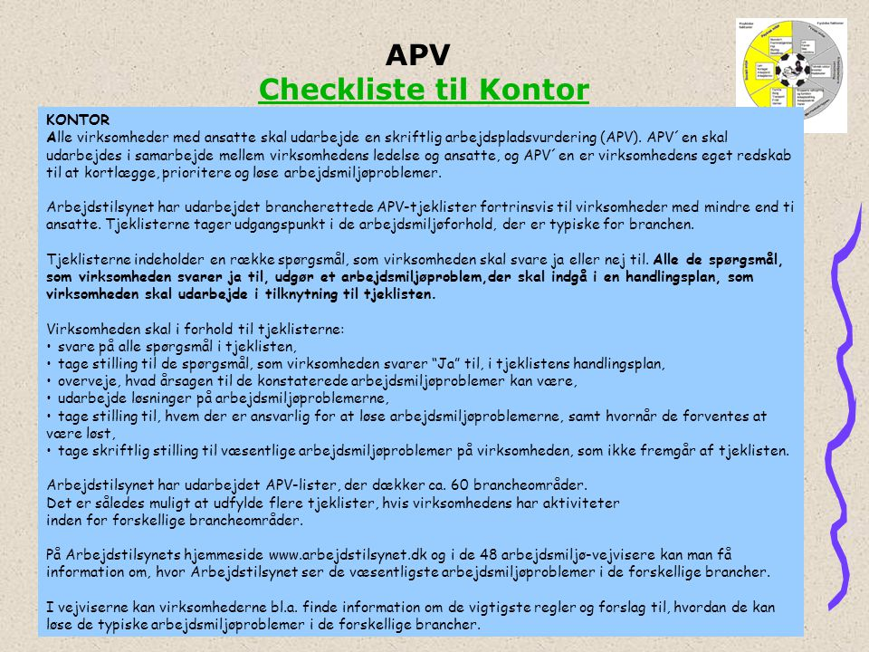 APV Checkliste til Kontor