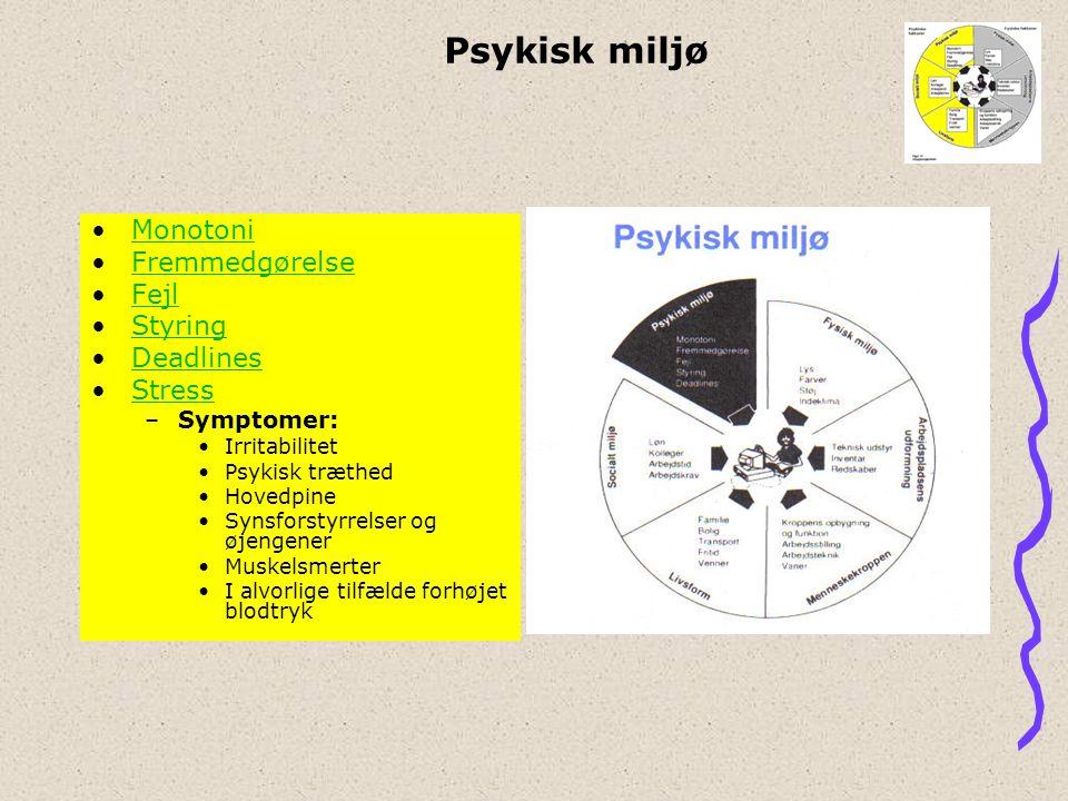 Psykisk miljø Monotoni Fremmedgørelse Fejl Styring Deadlines Stress